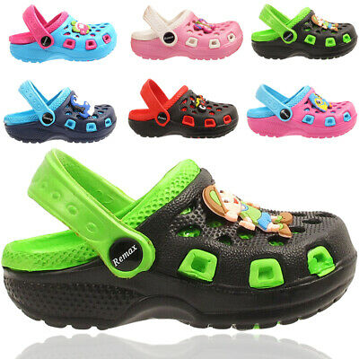 Kids Infant Girls Boys Contrast  Colors Clogs Slip On Flip Flop Slippers Shoes