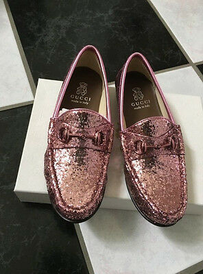 9a743a42085 NIB 100% AUTH Gucci Girls Soft Pink Glitter Horsebit Mocassins Loafers  360544