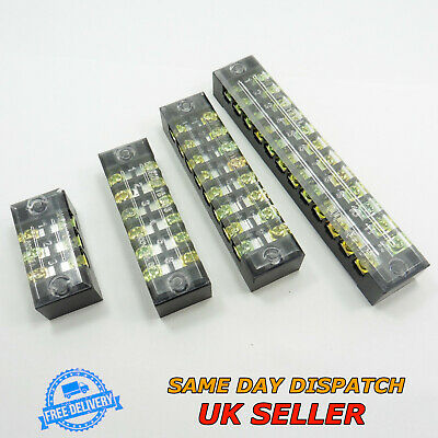 15A 600V Dual Row Covered Terminal Block Electric Barrier Strip Screw