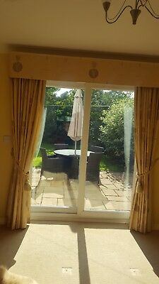 quality made to measure lined curtains with box pelmet to fit bay/patio doors