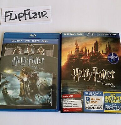 2 Movie Lot- Harry Potter And The Deathly Hallows Part 1 & Part 2 Blu Ray Movies