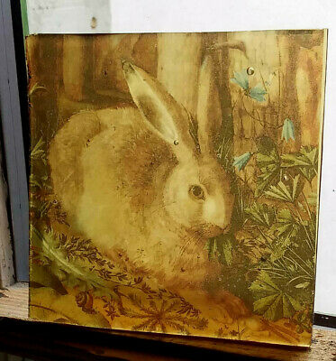 Stained Glass - Hare vintage pane Kiln fired.transfered piece amber glass Easter