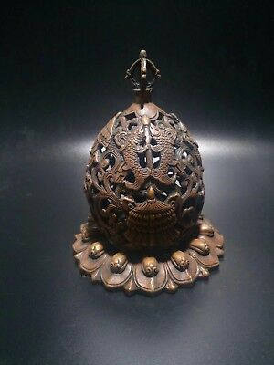 Chinese Antique Red bronze sculpture hollow pagoda incense burner