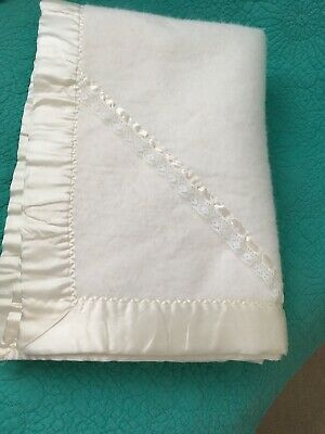 Vintage Quiltex White W/Lace,Satin Binding Made In USA 100% Acrylic Baby Blanket