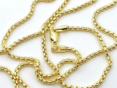 "14K Yellow Gold Round Box Link Necklace Pendant Chain 20"" 1.7mm 14K Gold"