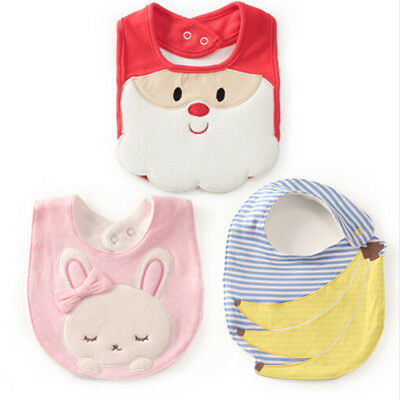 Cute Bibs Santa Claus Rabbit Bandana Bibs Kid Cotton Feeding Burp Cloths Bibs OS