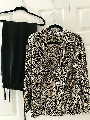6359abf2510 NWOT Secret Treasures 2 PC Pajama Set Leopard Top w  Black Bottoms Women sz  Med