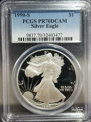1990-S $1 Proof American Silver Eagle PCGS PR 70 DCAM 1 oz