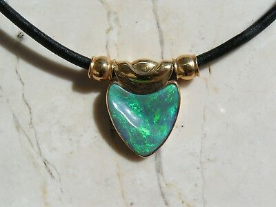 Solid Genuine Australian Opal and 18ct Gold and leather Pendant