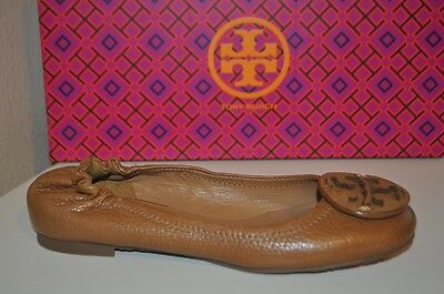 5a6d29f356d3 NEW Tory Burch Reva Tan Ballet Flat Shoe Pebbled Leather Logo Brown Sand Sz  4 M