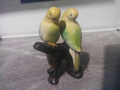 Vintage ,retro ,kitch unbranded ceramic pair of budgerigars on branch figurine