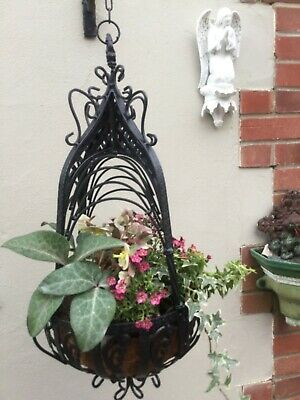 Victorian Style Heavy Architectureal Hanging Baskets Black Metal Ornate