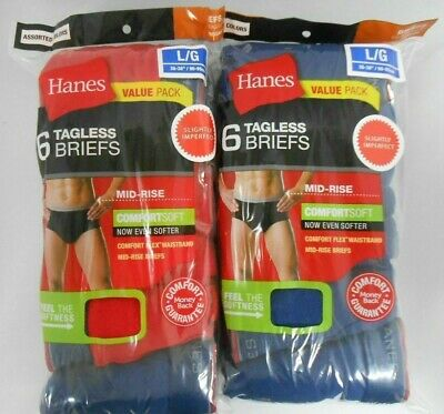 Hanes Men's Briefs 12 Pack Comfort-soft Waistband Tagless Colors S, M, L XL !!