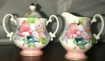Takiro Hand Painted Sugar Bowl And Creamer