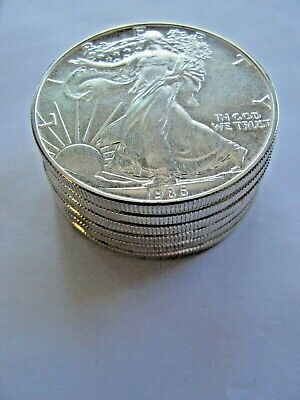 LOT of (7) 1986 $1 American Silver Eagle 1 Troy Oz .999 Fine Silver UNCIRCULATED