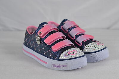 Youth Girl's Skechers S Lights Shuffles Dazzle Dash Sneakers Denim/Pink