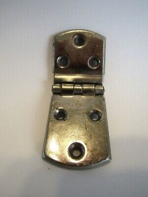 "1 Single VINTAGE CHROME Metal Cabinet Door HINGE 1/2"" Offset Style National Lock"