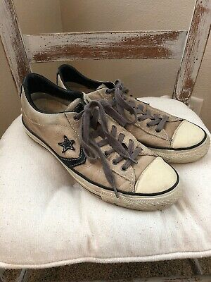 9a906e02787570 RARE Converse X John Varvatos Black   Taupe Leather One Star Sneakers Size  9.5