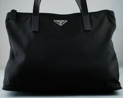 842e12593398 Like us on Facebook · 100% AUTHENTIC Prada Black Nylon Leather Trimmed Tote  ( 31)