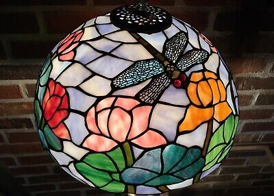 Vintage Antique Old Leaded Stained Slag Glass Shade Dragonfly