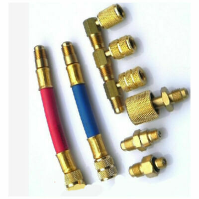 Car A/C Air Conditioning Refrigeration Connector Hoses Adapter R134A R12 Set Kit