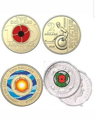 4x$2 coins 2018 armistice red poppy - Invictus Games - Eternal Flame - NZ Poppy.