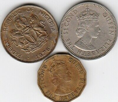 3 different world coins from NIGERIA