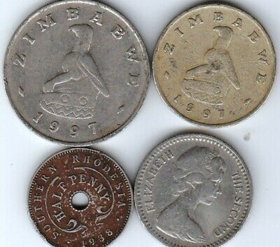 4 different world coins from ZIMBABWE / RHODESIA