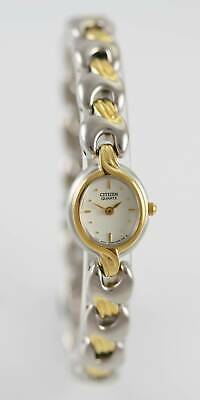 Citizen Watch Womens Cream Stainless Silver Gold Water Resistant Battery Quartz