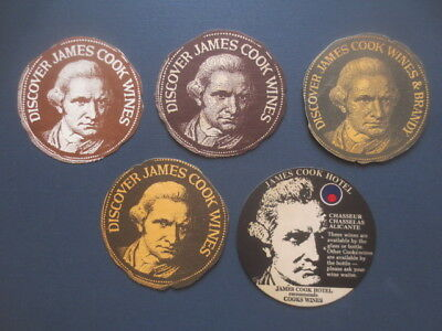 5 different CAPTAIN COOK  WINES,1970,- 90,s Issued  Advertising COASTERS