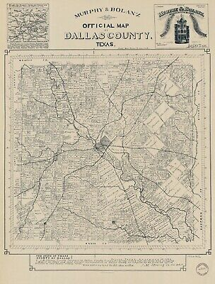 A4 Reprint of American Cities Towns States Map Dallas County Texas
