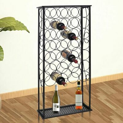 Wine Rack Metal Wine Cabinet Rack Stand For 28 Bottles A2A0