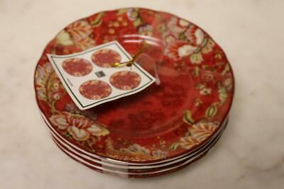 222 Fifth Gabrielle Red Round Appetizer Dessert Plates Plates - Rare - Set Of 4