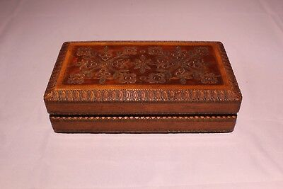 """Antique Hand Carved Wooden Cigar Humidor Box With Intricate Brass Inlay 8"""" x 4"""""""