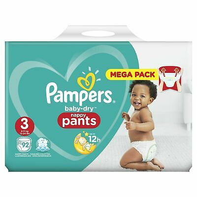 184 couches culottes pampers baby dry nappy pants MEGA PACK taille 3 (6 11 kg)