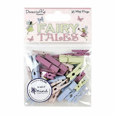 35 Mini FAIRY TALES Wooden Pegs Card Making Craft Embellishments Supplies