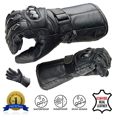 ALL SIZES Leather Motorbike Motorcycle Gloves Biker Waterproof Windproof Thermal
