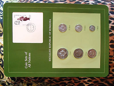 Coin Sets of All Nations Romania 1966 - 1982 UNC Millo Stamp w/card