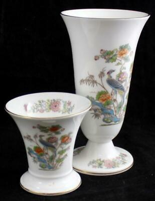 Wedgwood KUTANI CRANE 2 Vases Gold Trim Bone China R4464 A+ CONDITION