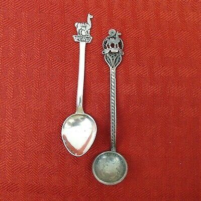 2 Sterling Silver Peru Souvenir Spoons Llamas 1 With 1901 Coin Bowl 15 gr. Total