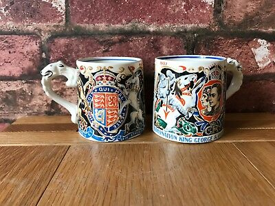 A Pair 1937 Dame Laura Knight Edward VIII & George VI Burleigh Coronation Mugs