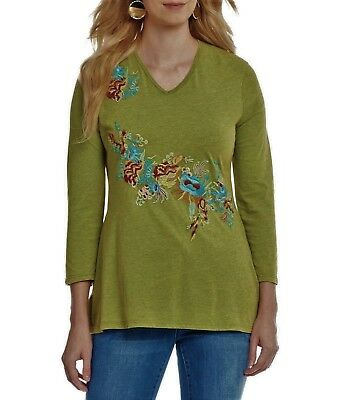 b475bbc171 NWT Womens REBA Mineral Wash EMBROIDERED Knit SPRING Top S M L XL MSRP  78  NEW