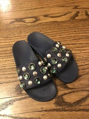 4203326fb3f47 NEW Tory Burch Vail Jeweled embellished Flat Slide Sandal shoes size 7  225