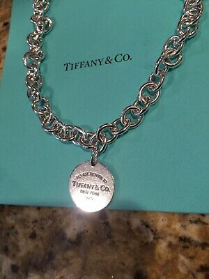 Please Return to Tiffany & Co. Sterling Silver Round Tag Retired Necklace