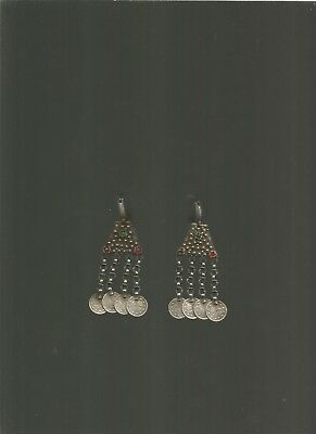,antique silver ottoman islamik SILVER EARRING FILIGRE WITH CHAIN AND COIN.RARE