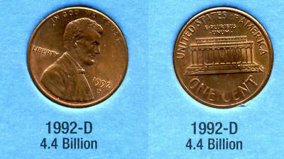 1992 D ABE Lincoln Memorial AMERICAN PENNY 1 CENT US U.S AMERICA ONE COIN #B1