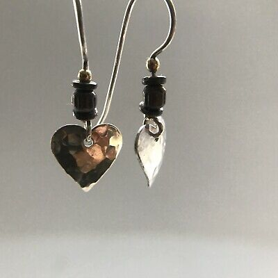 ea30d1ed01e44 SMALL HAMMERED STERLING Silver Heart Dangle Earrings