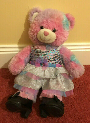 Build a Bear Girl Multi-Coloured Pink Teddy Bear with Dress and Shoes