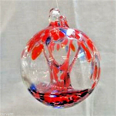 """Hanging Glass Ball 4"""" Diameter 4th of July Witch Ball Red & Blue (1) GB1"""