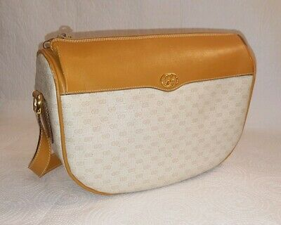 55f8980767fe Vintage GUCCI Beige and Tan GG Coated Canvas Shoulder Handbag Leather Trim
